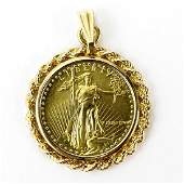 US Standing Liberty 5 Gold Coin Pendant with 14 Karat