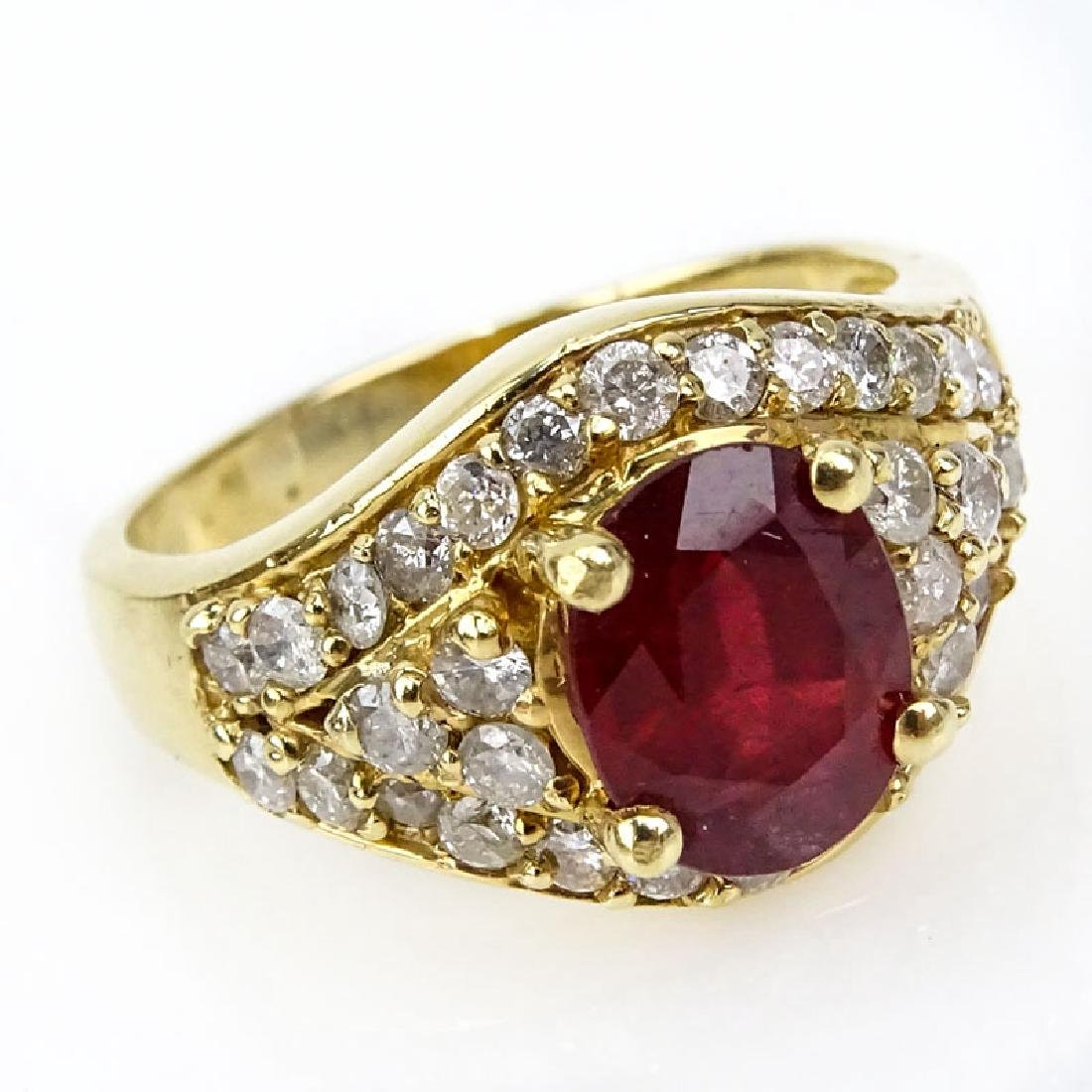 Vintage Oval Cut Ruby, Diamond and 14 Karat Yellow Gold