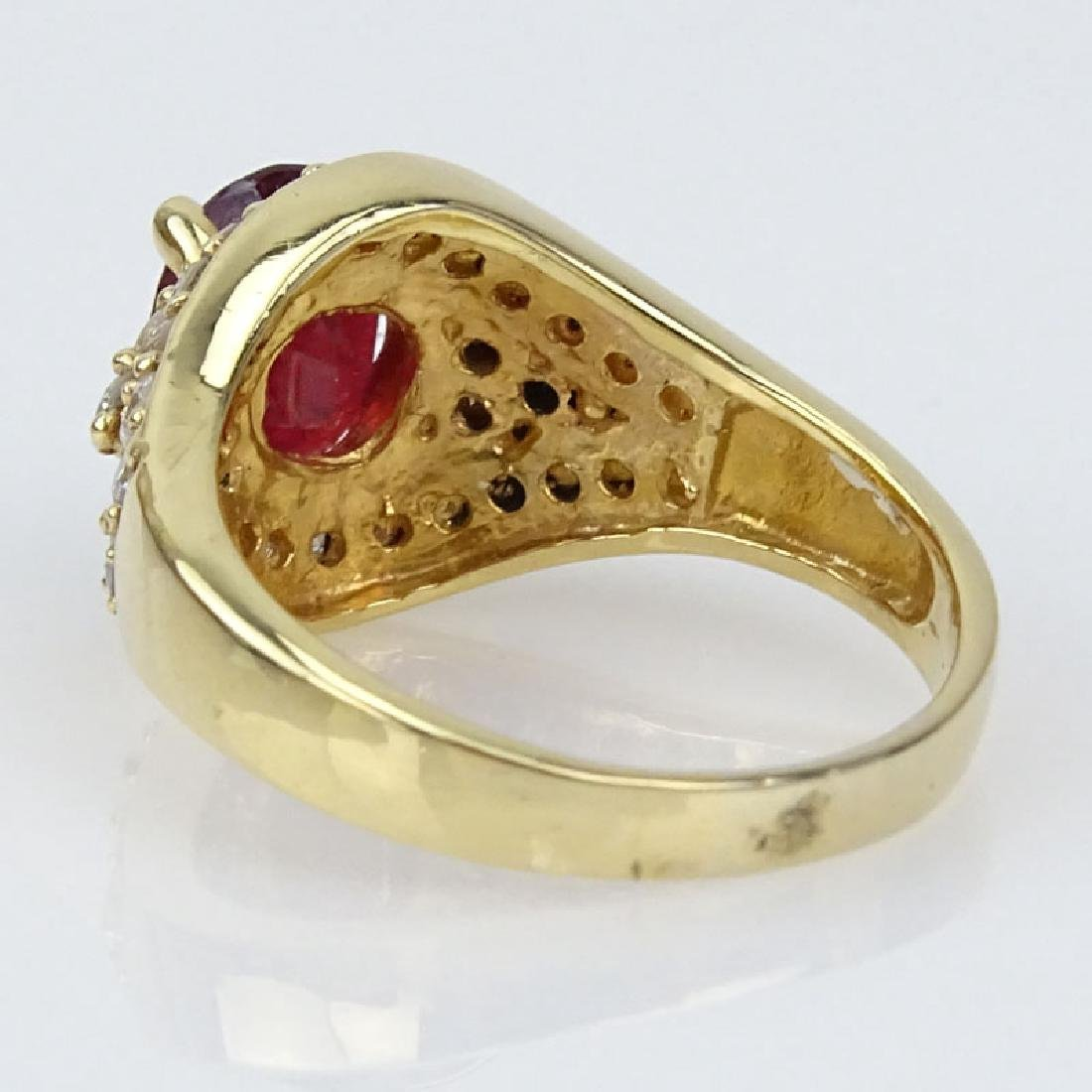 Vintage Oval Cut Ruby, Diamond and 14 Karat Yellow Gold - 2