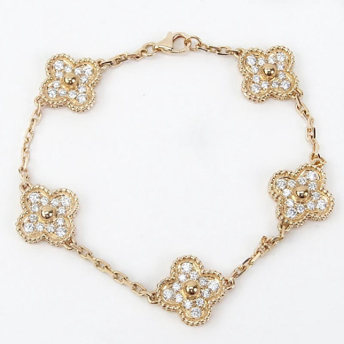 Van Cleef & Arpels style Diamond and 18 Karat Rose Gold