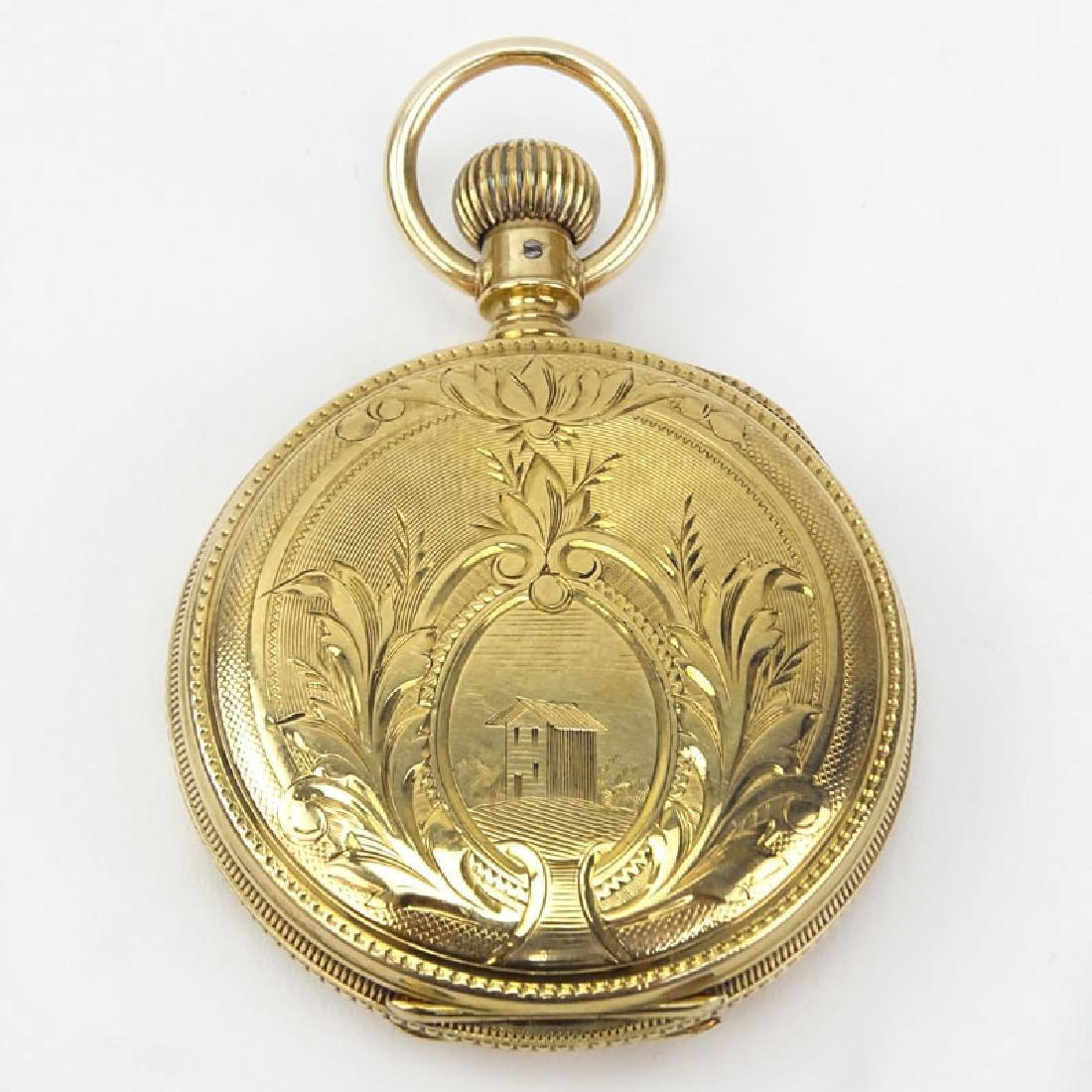 Antique Elgin 14 Karat Yellow Gold Engraved Pocket