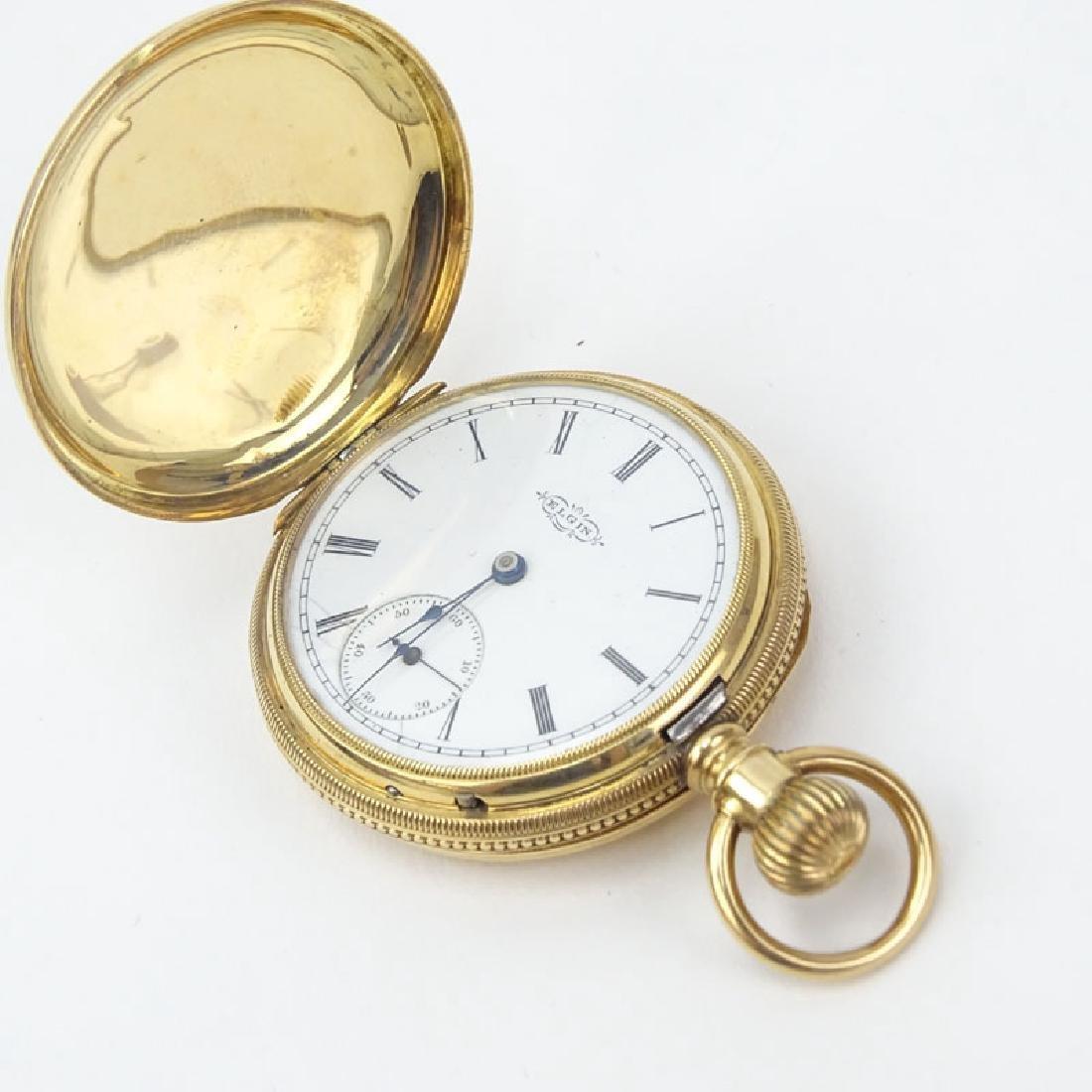 Antique Elgin 14 Karat Yellow Gold Engraved Pocket - 3