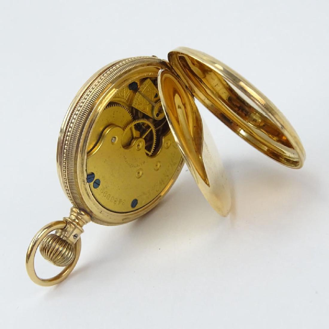 Antique Elgin 14 Karat Yellow Gold Engraved Pocket - 4