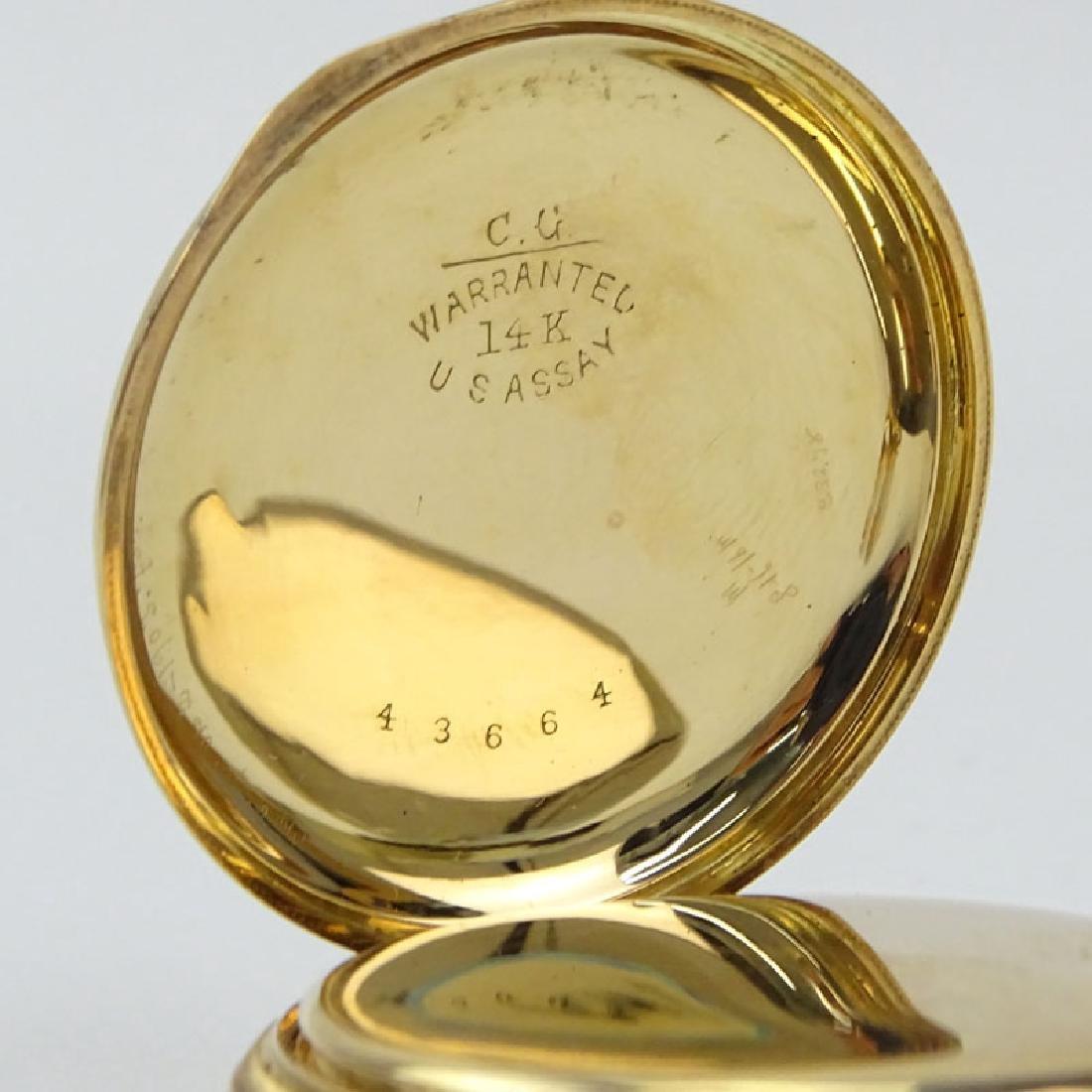 Antique Elgin 14 Karat Yellow Gold Engraved Pocket - 6
