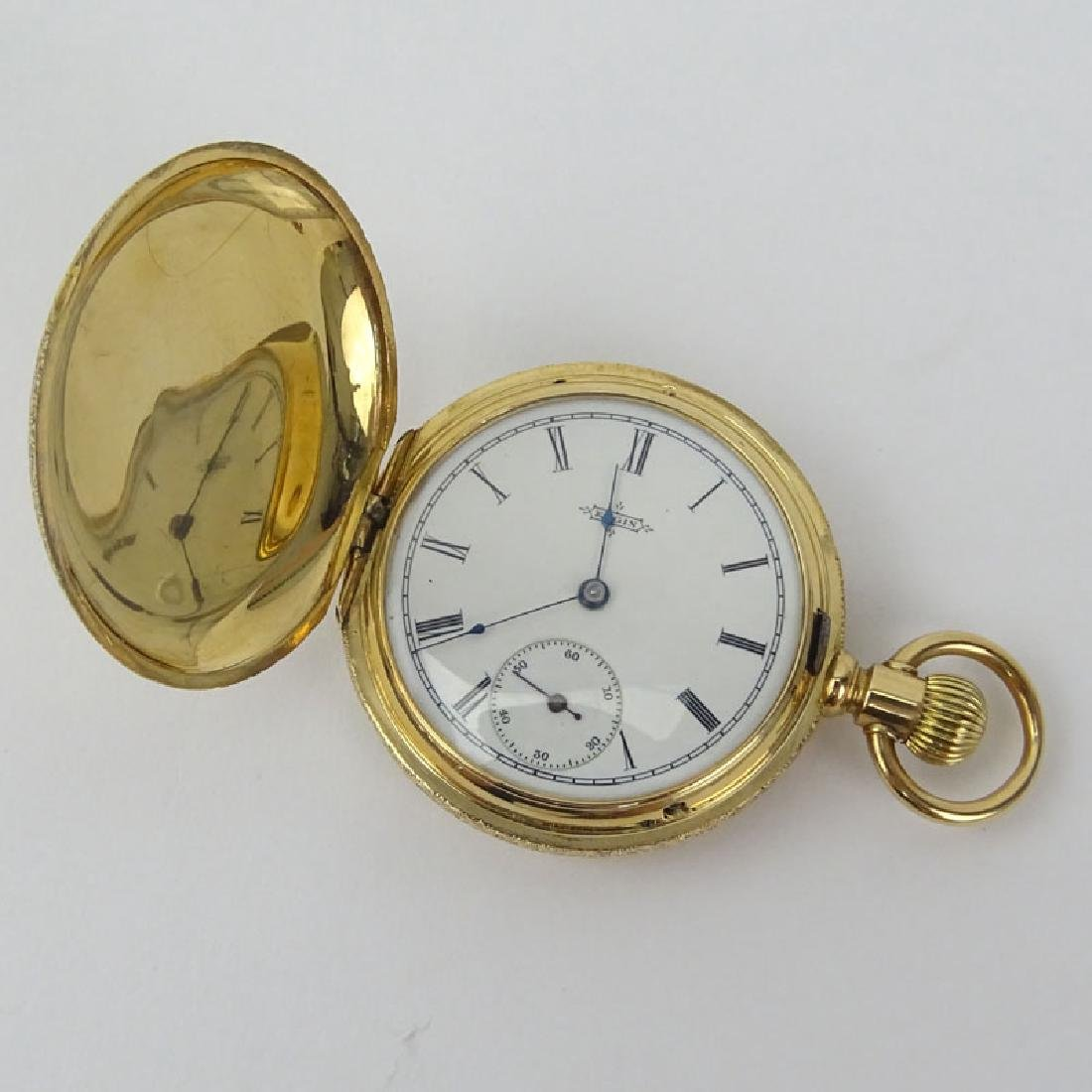 Antique Elgin 14 Karat Yellow Gold Engraved Pocket - 4