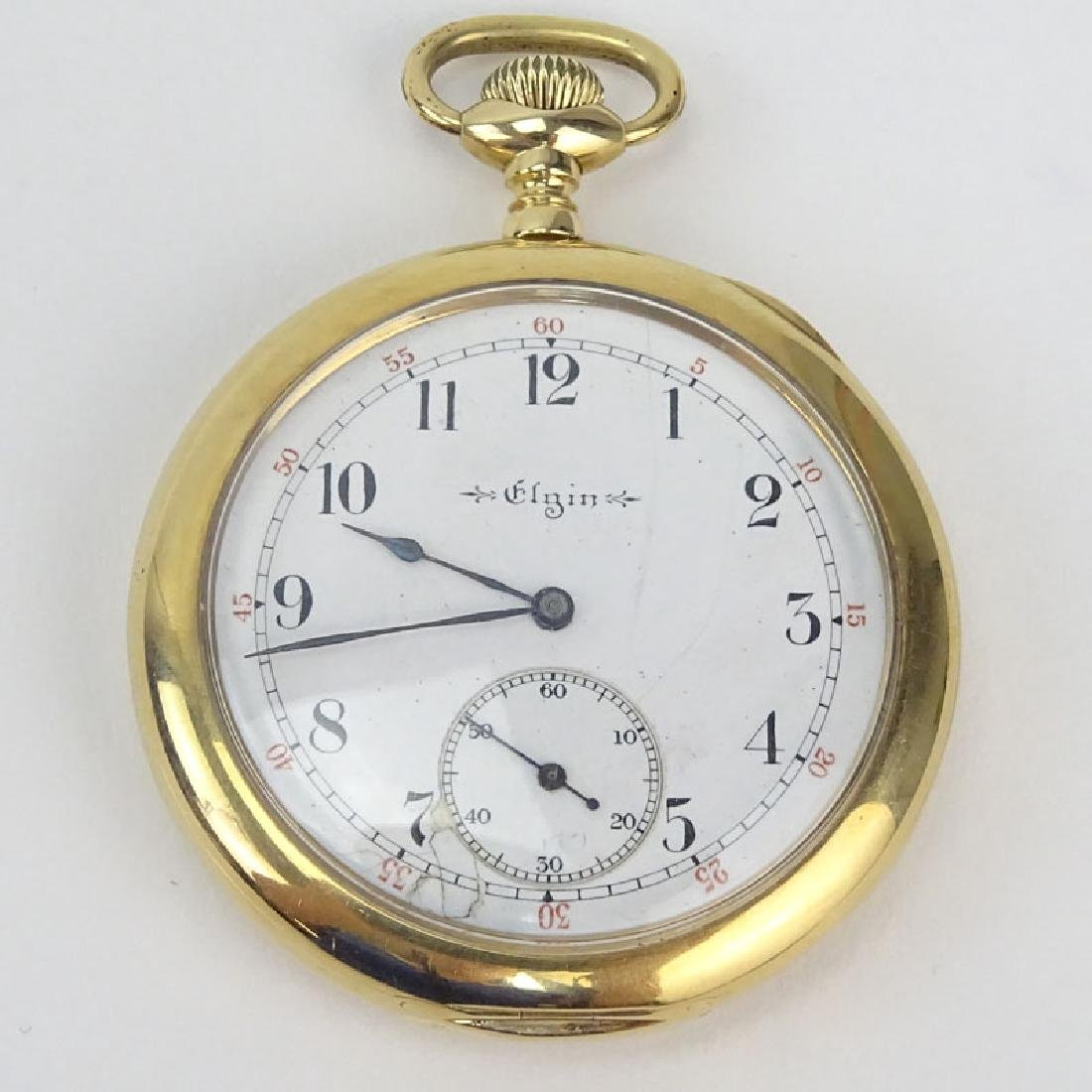Antique Elgin 14 Karat Yellow Gold Pocket Watch.