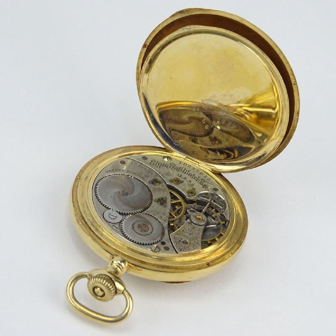 Antique Elgin 14 Karat Yellow Gold Pocket Watch. - 5