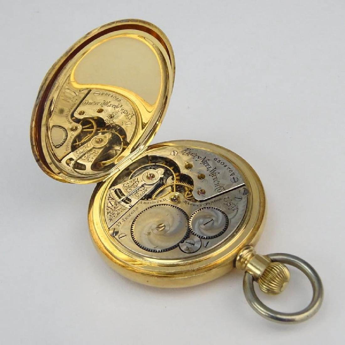 Antique Elgin 14 Karat Yellow Gold Pocket Watch with - 4