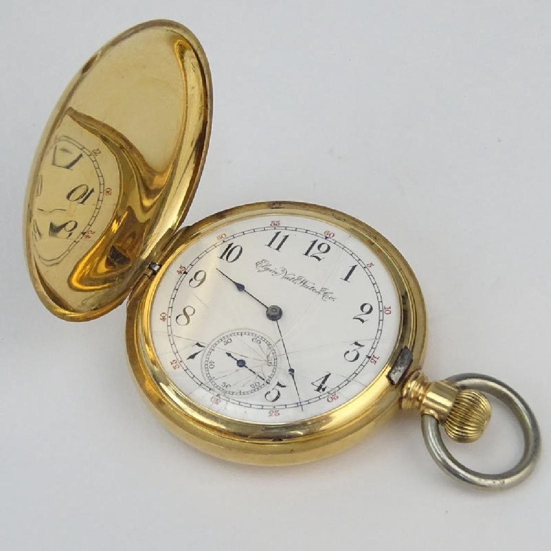 Antique Elgin 14 Karat Yellow Gold Pocket Watch with - 5