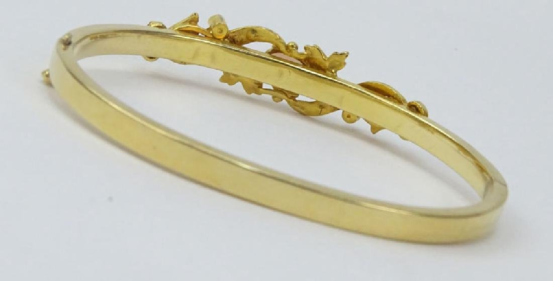 Vintage 14 Karat Yellow Gold Bangle Bracelet set with - 2