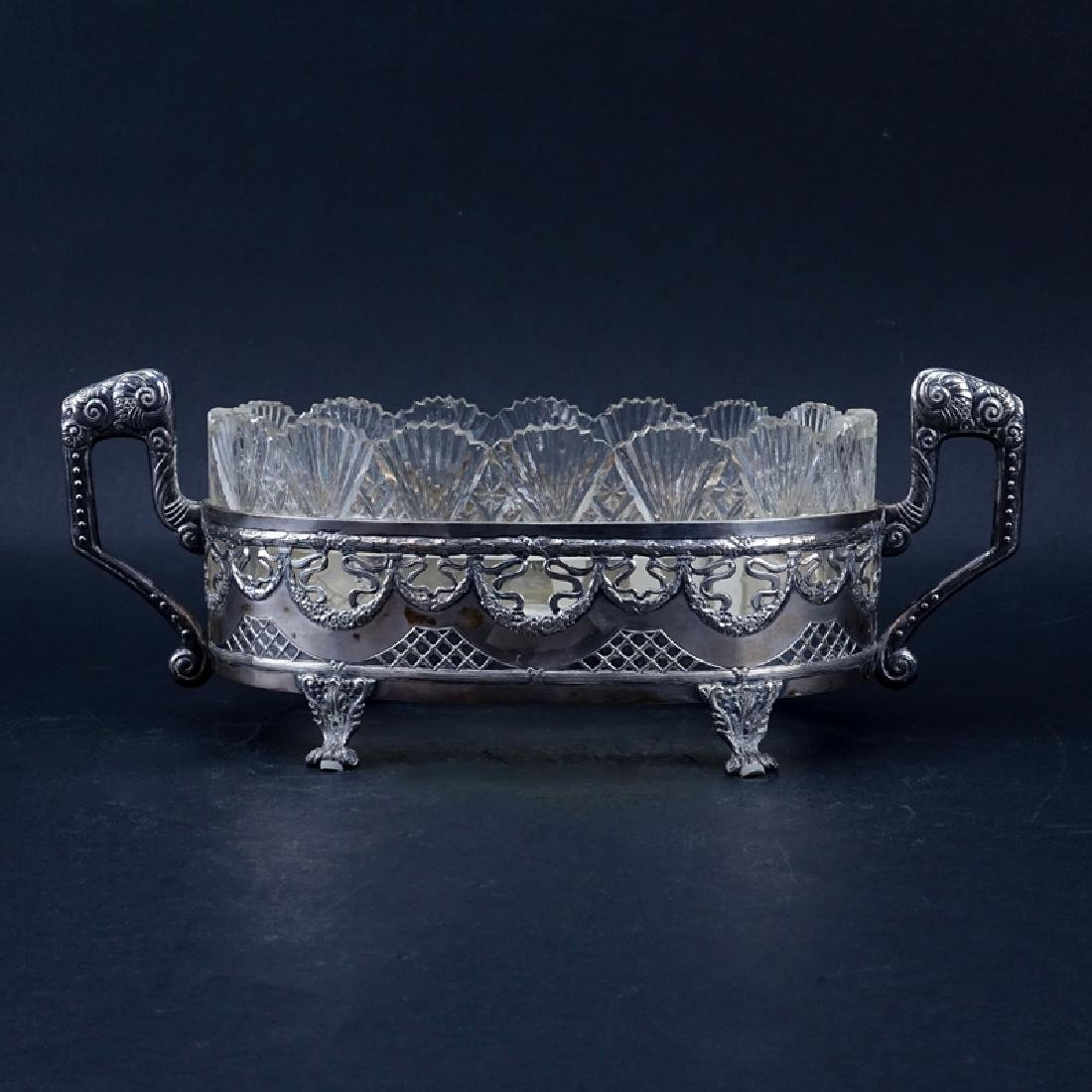 Antique Sterling Silver and Crystal Centerpiece Bowl.