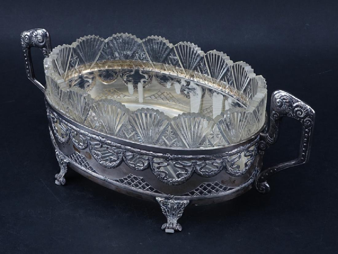 Antique Sterling Silver and Crystal Centerpiece Bowl. - 2