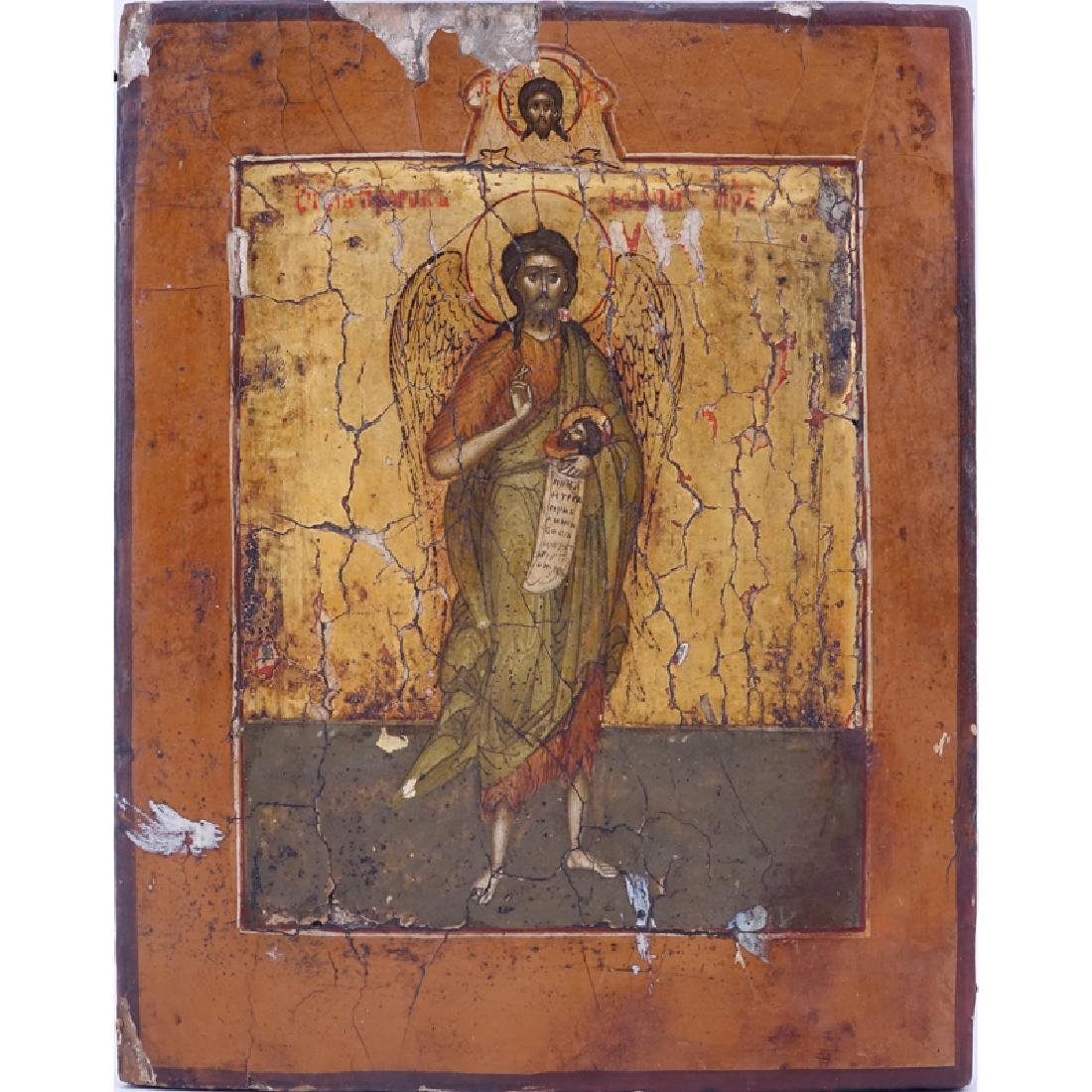19/20th Century Russian Icon of Saint John the Baptist,