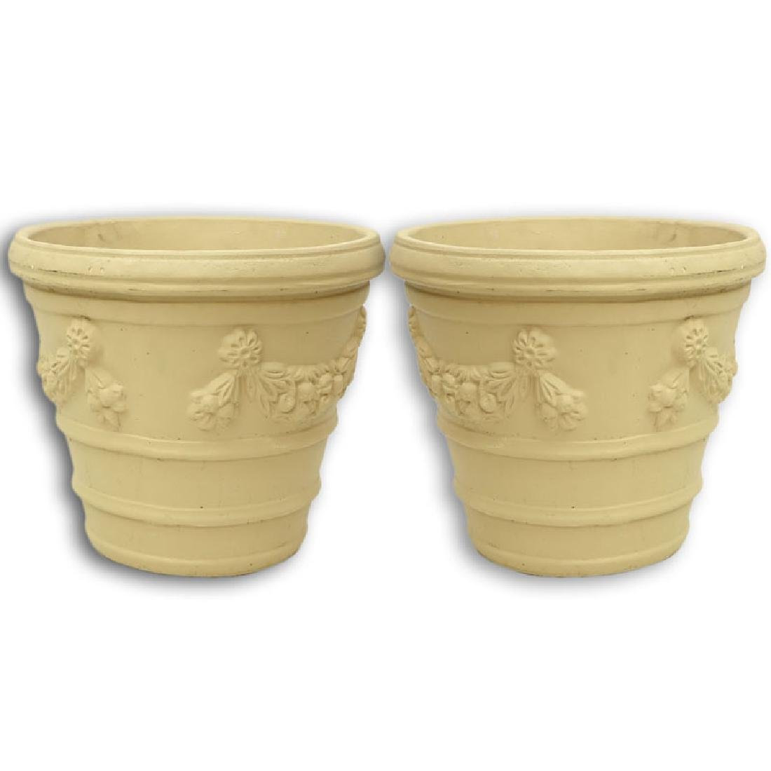 Pair of Italian Style Painted Cast Faux Stone Planter.