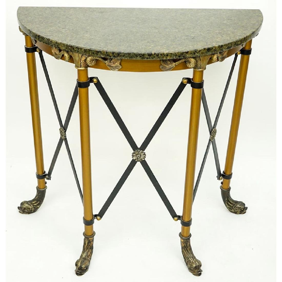 Modern Empire Style Metal and Brass Mounted Demi Lune