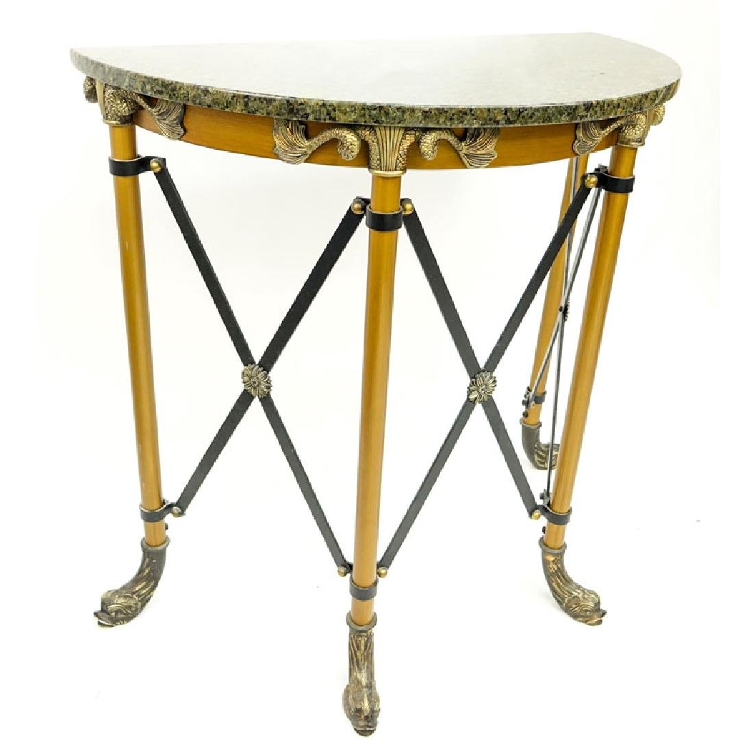 Modern Empire Style Metal and Brass Mounted Demi Lune - 3
