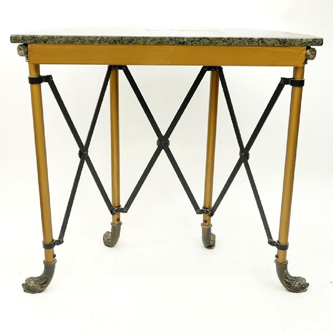 Modern Empire Style Metal and Brass Mounted Demi Lune - 4