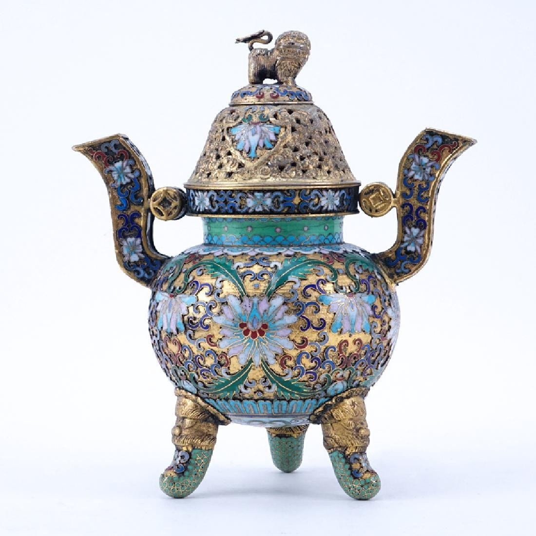 Chinese Cloisonné Enamel Part-Gilt Metal Covered Censer