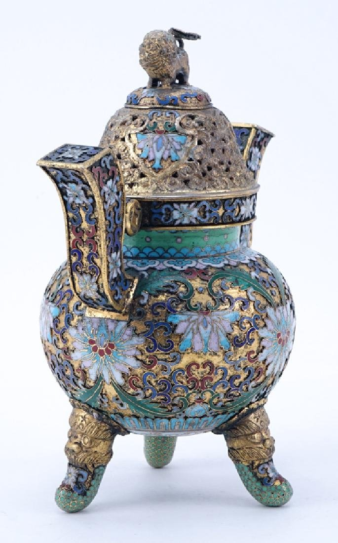 Chinese Cloisonné Enamel Part-Gilt Metal Covered Censer - 2