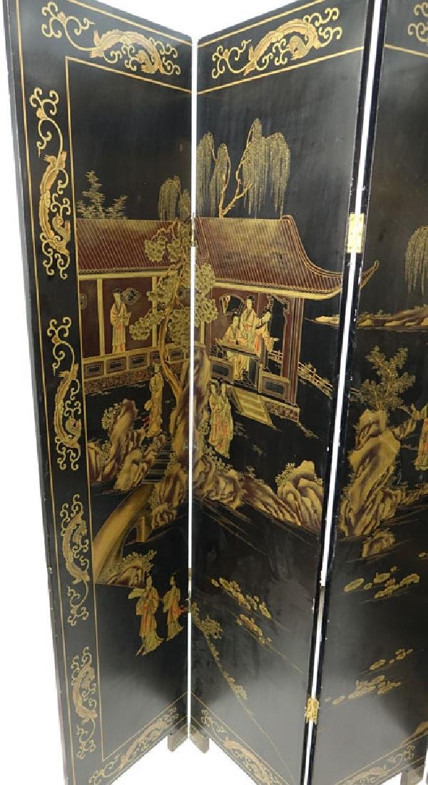 Modern Chinese Lacquered 4 Panel Screen. Village scene - 2