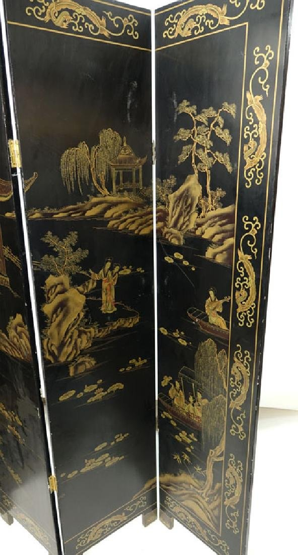 Modern Chinese Lacquered 4 Panel Screen. Village scene - 3