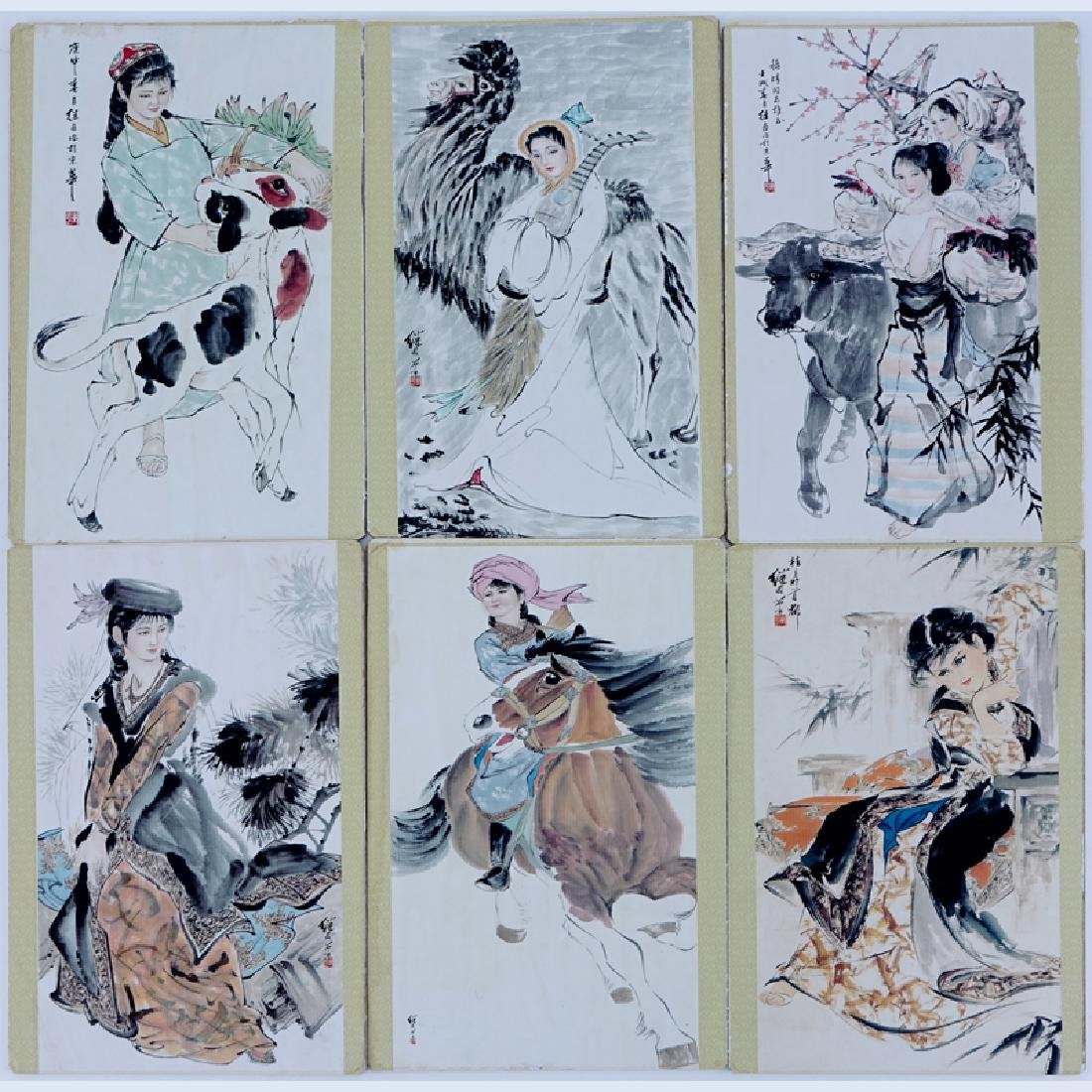 Six (6) Color Cardboard Prints in the Style of Ji Lu.