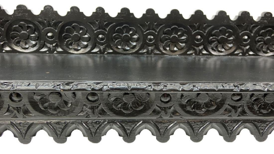Spanish Colonial Style Painted Carved Wooden Bench. - 3