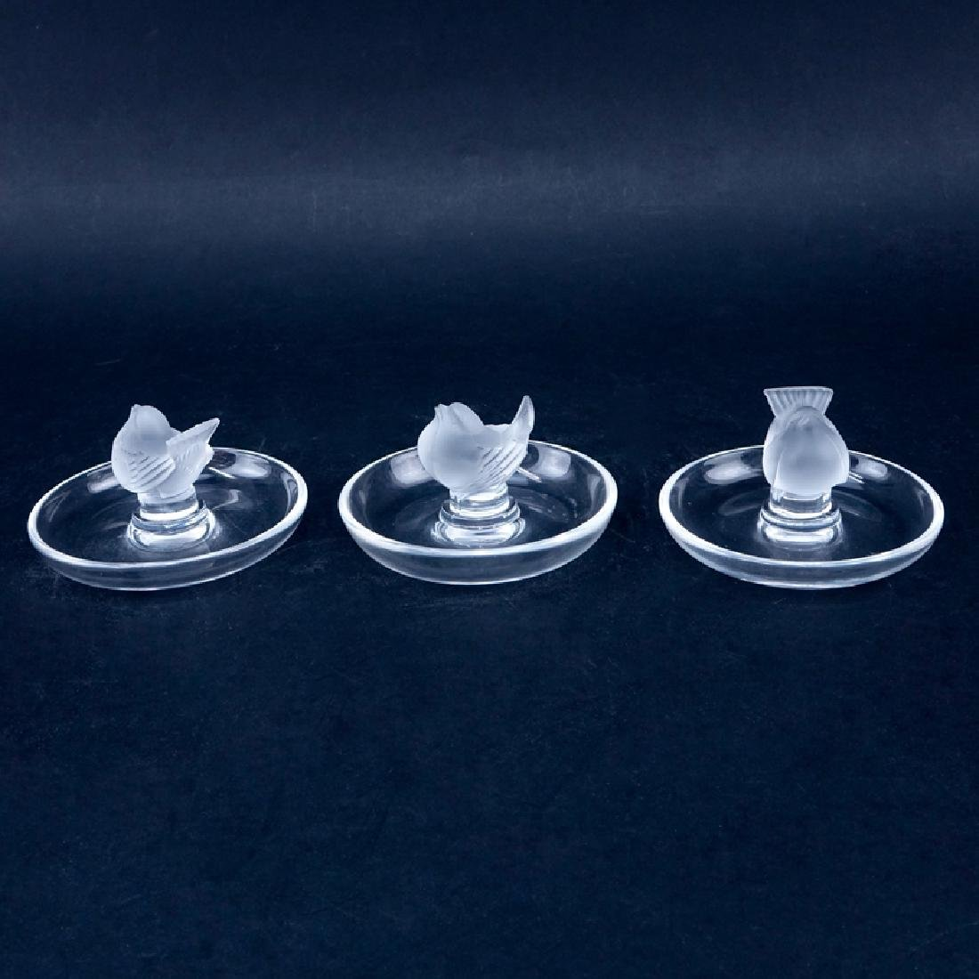 Set of Three (3) Lalique Finch Bird Frosted and Clear