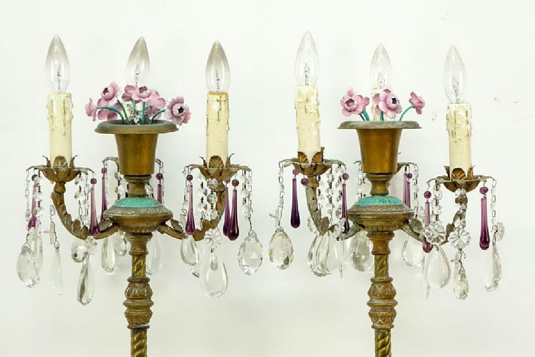 Pair of Vintage Italian Tole And Prism Stick Lamps. - 3