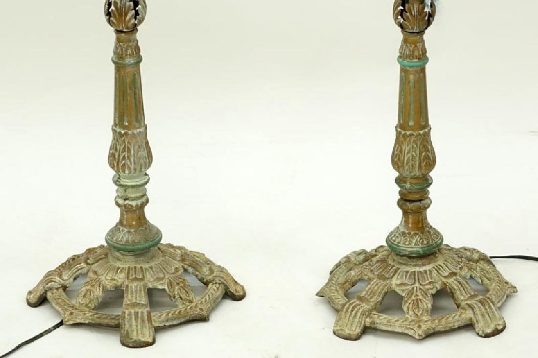 Pair of Vintage Italian Tole And Prism Stick Lamps. - 4