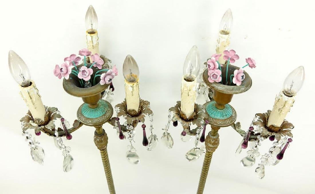 Pair of Vintage Italian Tole And Prism Stick Lamps. - 5