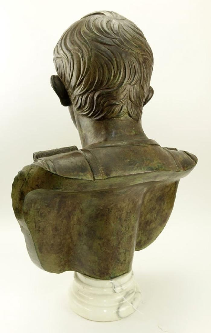 Large Modern Bronze Bust of Augustus Caesar On White - 10