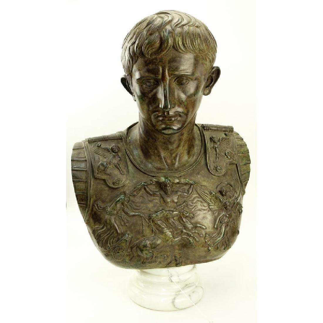 Large Modern Bronze Bust of Augustus Caesar On White
