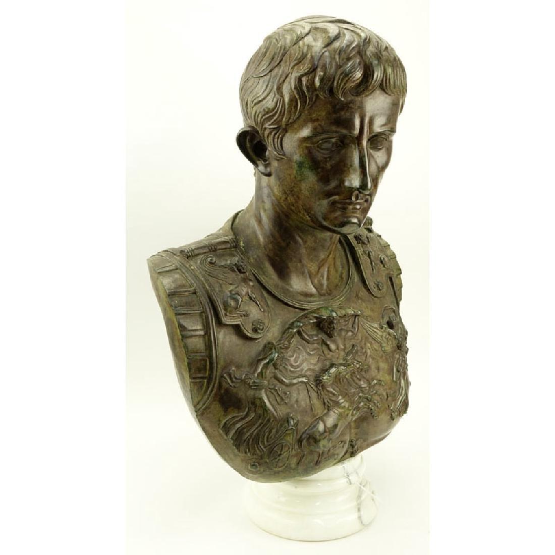 Large Modern Bronze Bust of Augustus Caesar On White - 2