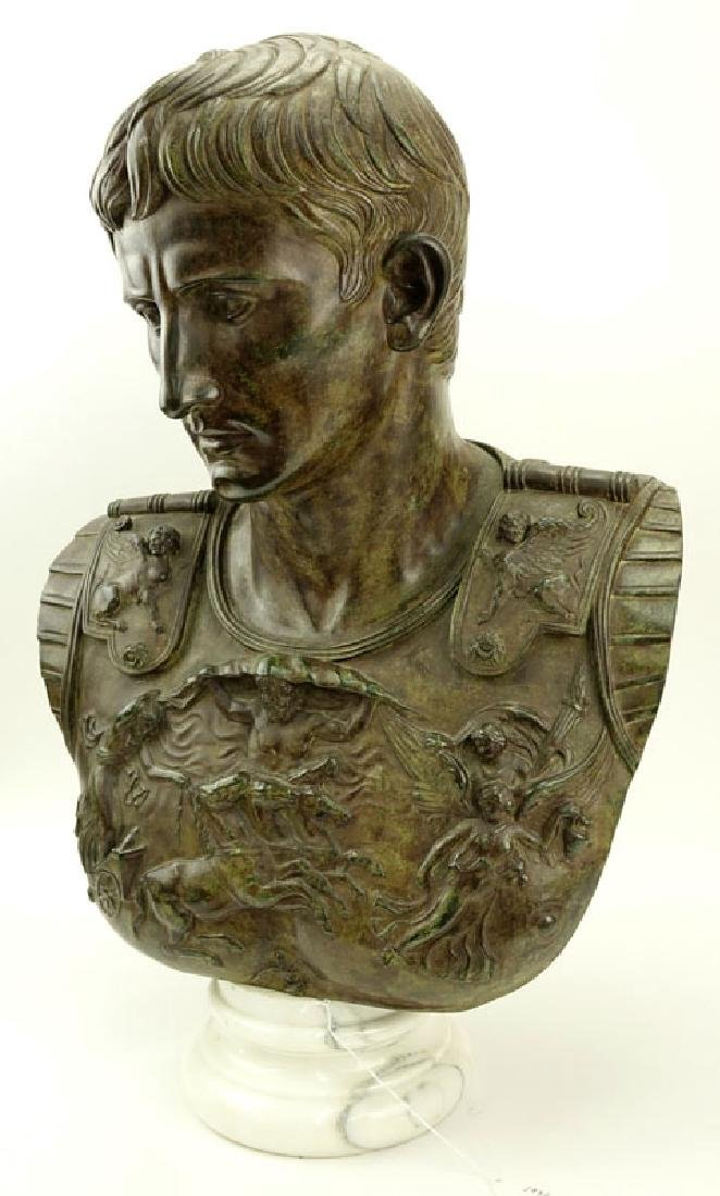Large Modern Bronze Bust of Augustus Caesar On White - 3