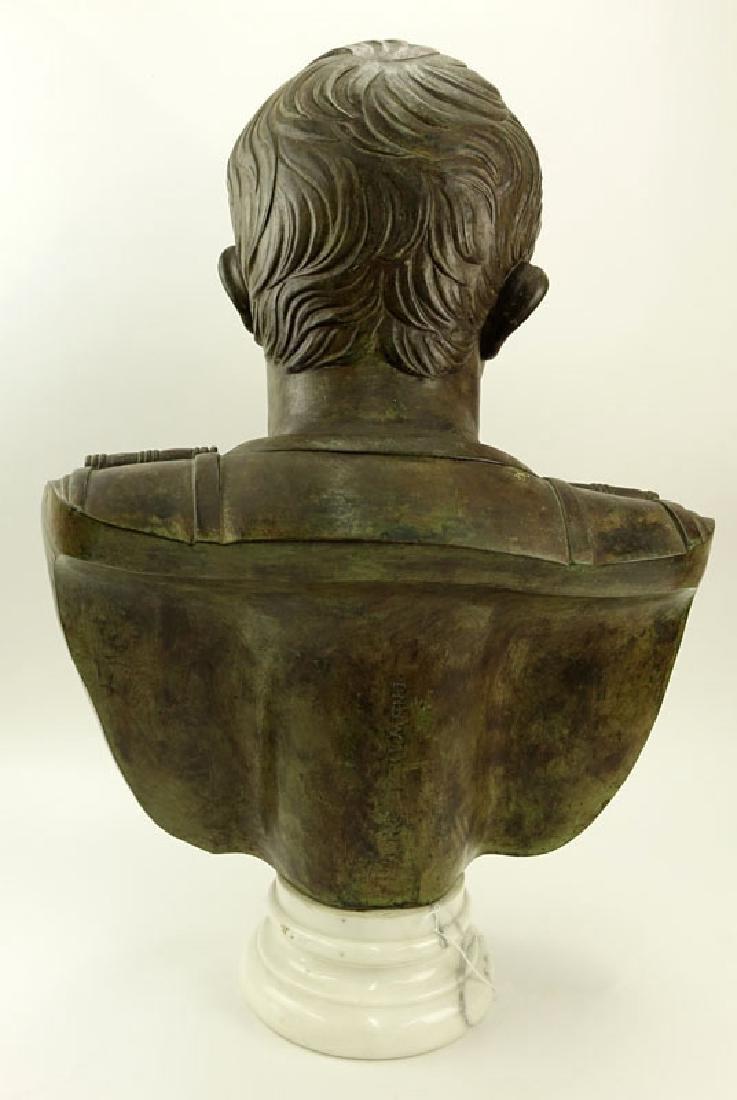Large Modern Bronze Bust of Augustus Caesar On White - 4