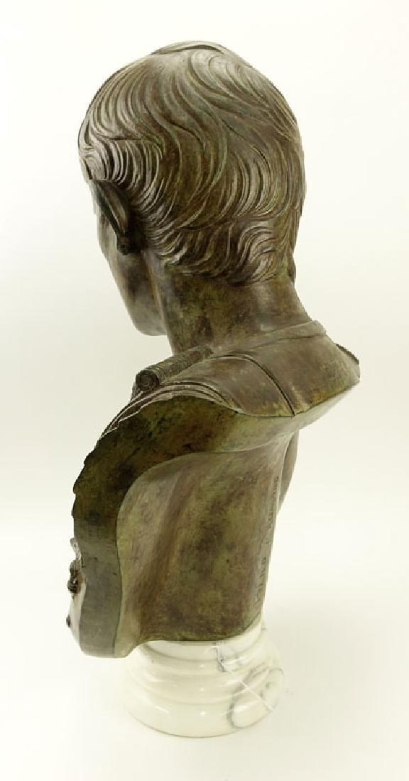 Large Modern Bronze Bust of Augustus Caesar On White - 9