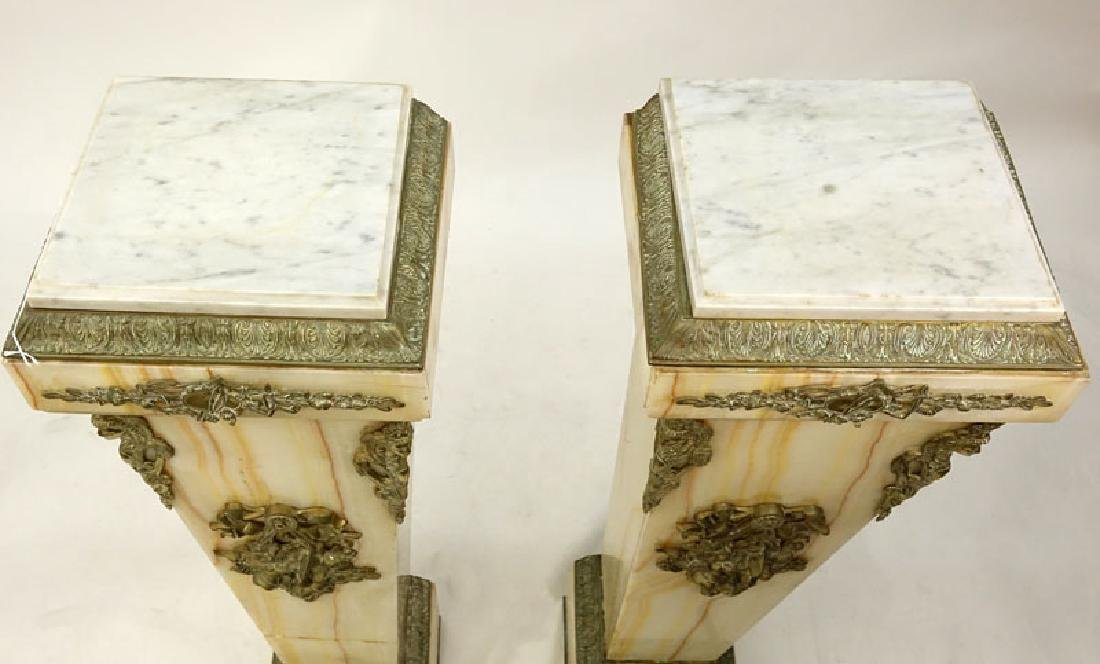 Pair of Antique Onyx Pedestal with Marble Tops. Bronze - 2