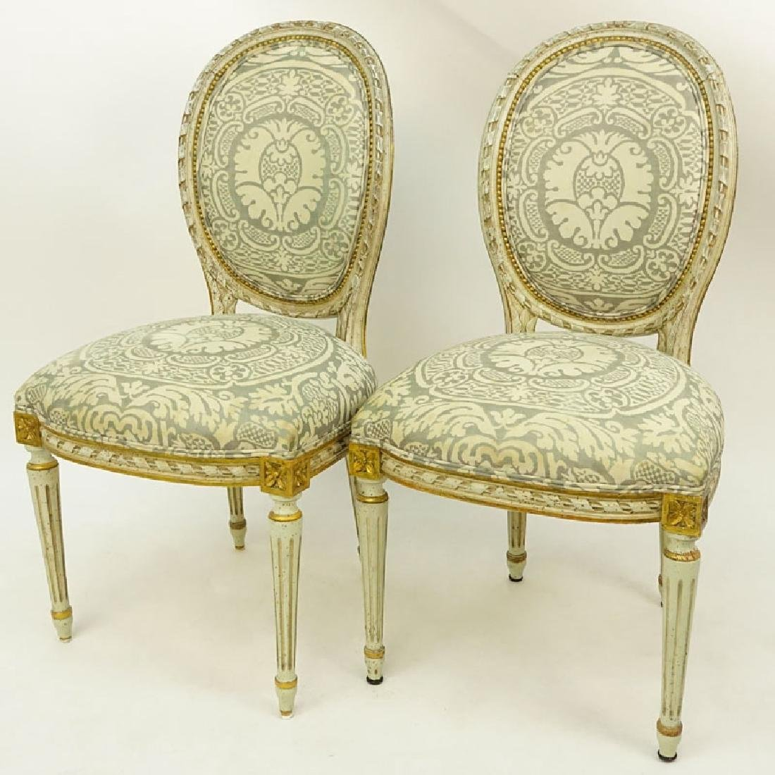 Pair of Louis XVI Style Carved Balloon Back Upholstered