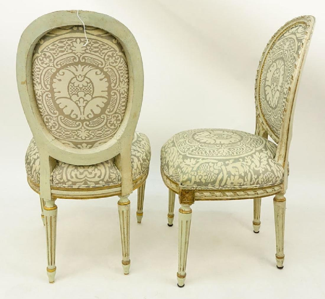 Pair of Louis XVI Style Carved Balloon Back Upholstered - 3