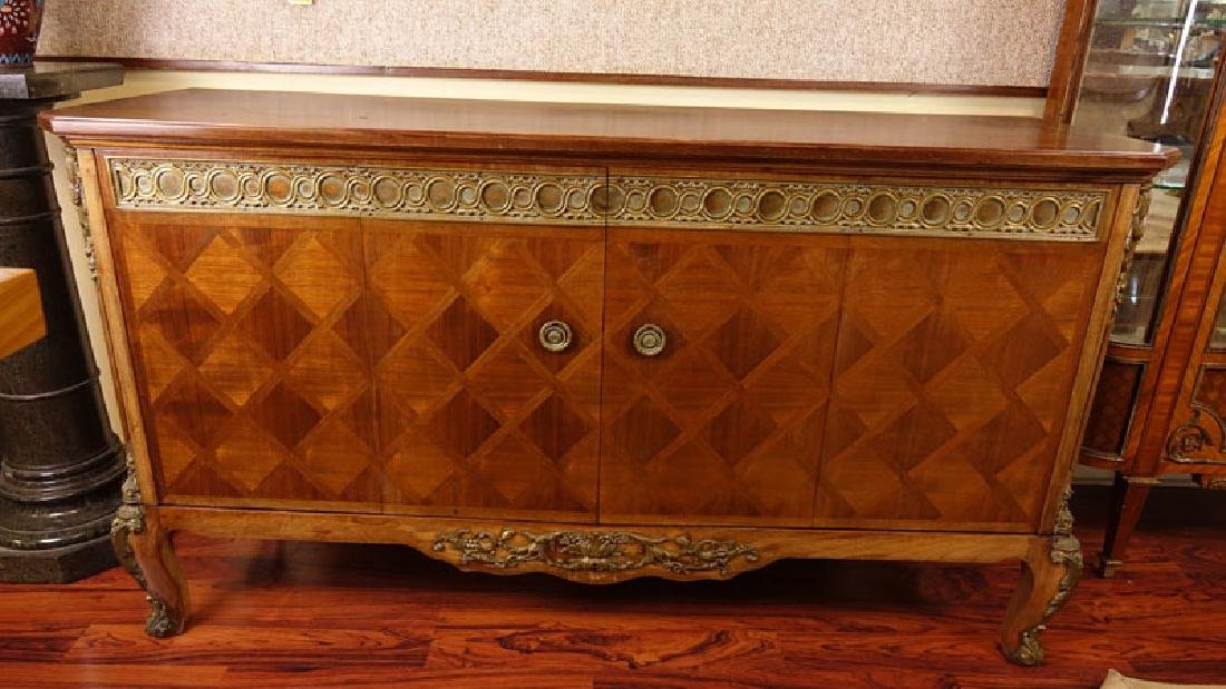 Mid Century Carved and Inlaid Console Table with Brass - 2