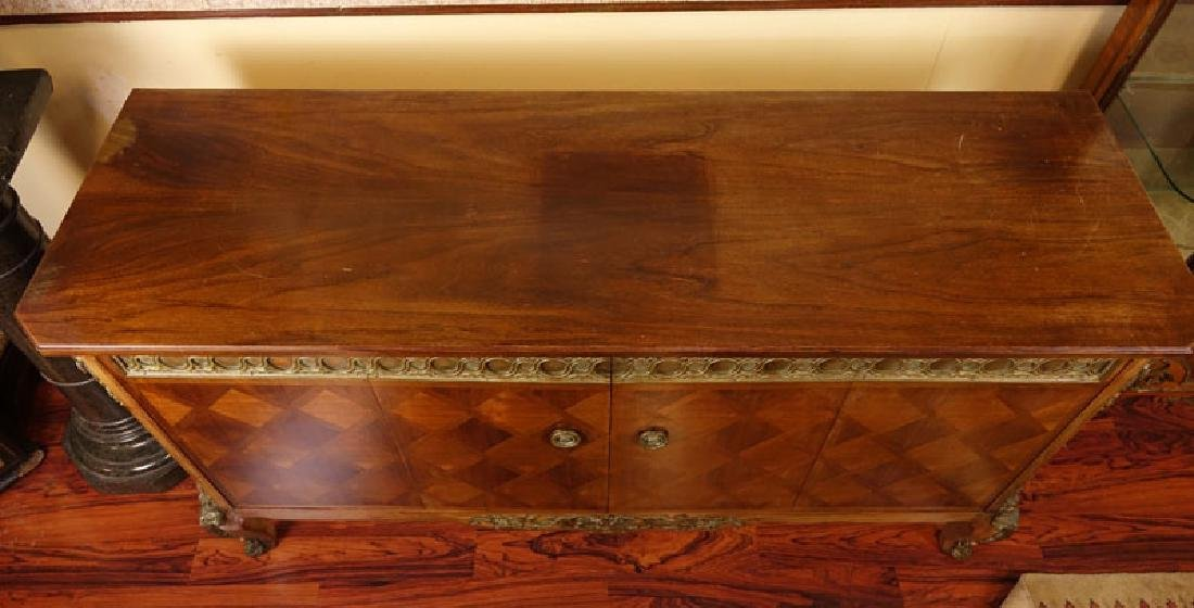 Mid Century Carved and Inlaid Console Table with Brass - 3