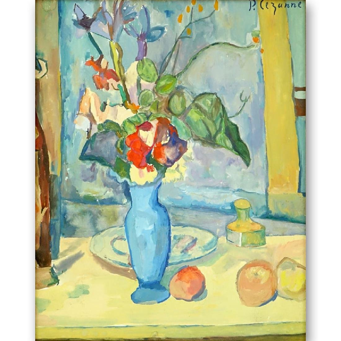Signed P. Cezanne Gouache on paper, Still Life with