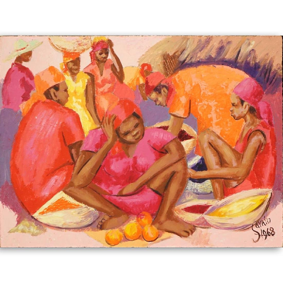 Petion Savin, Haitian (born 1927) Acrylic on board