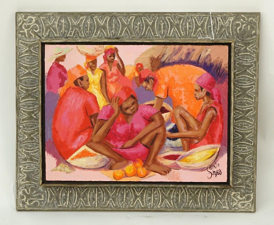 Petion Savin, Haitian (born 1927) Acrylic on board - 2