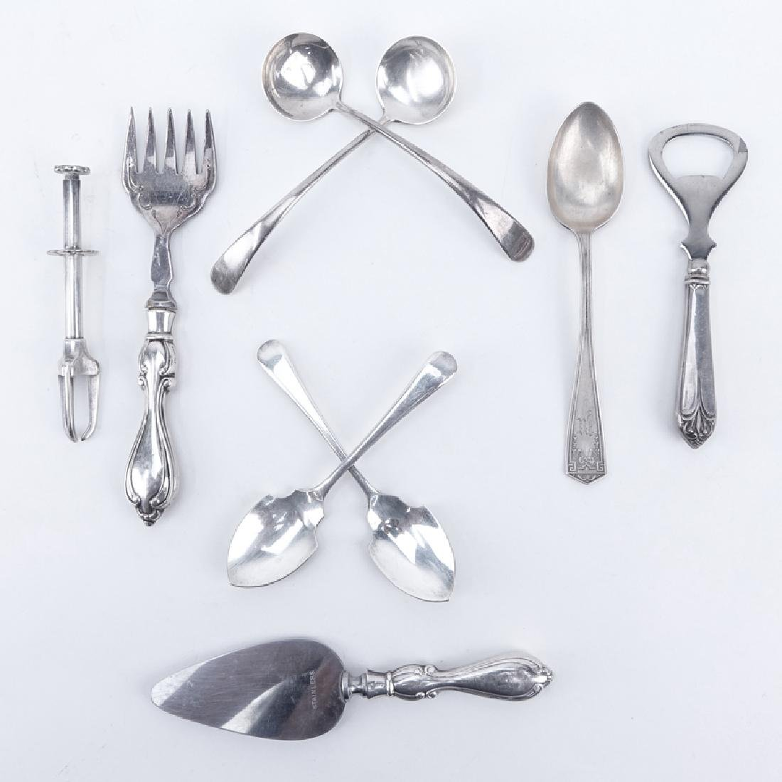 Collection of Nine (9) Sterling Silver, sterling Handle