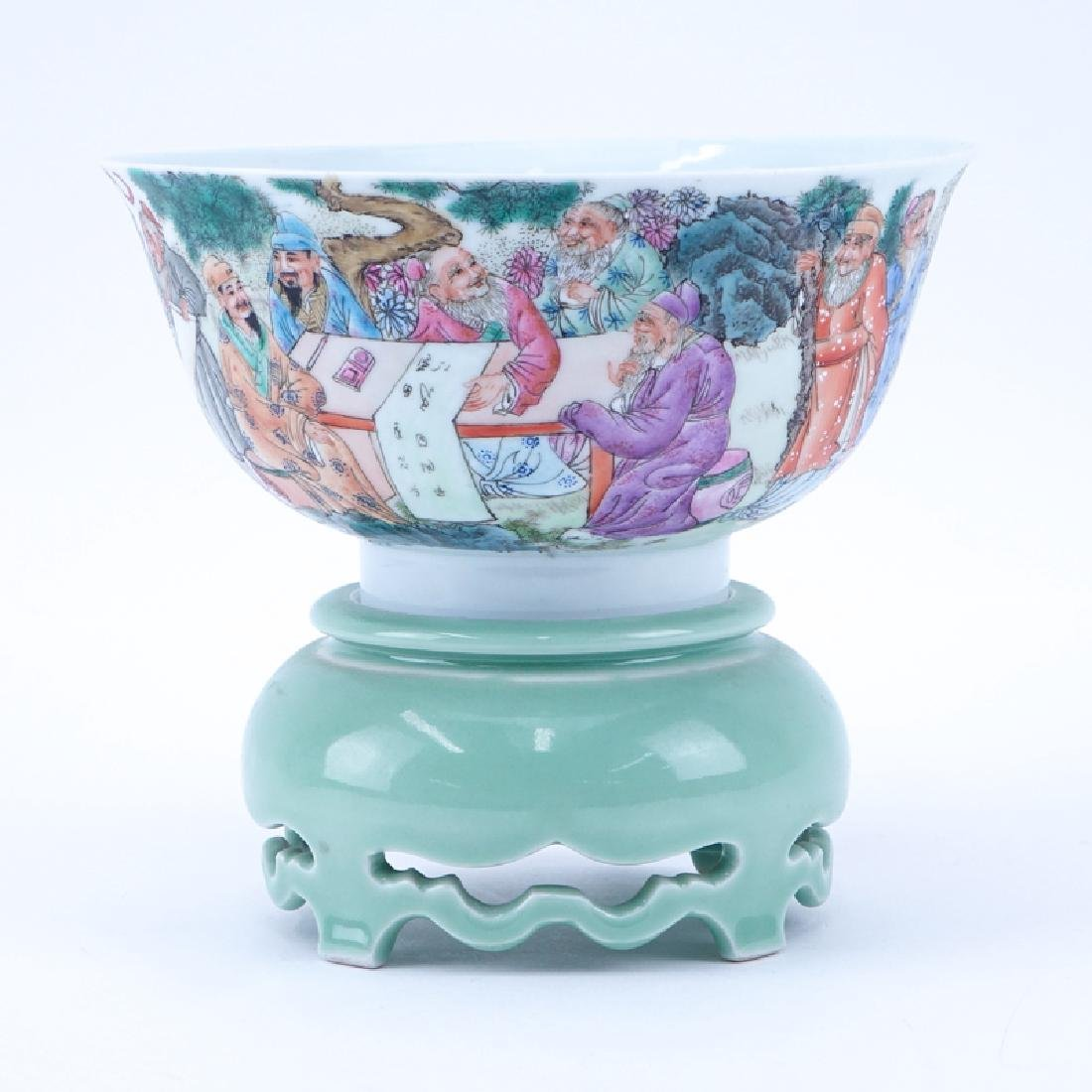 Republic Period Chinese Porcelain Bowl On Stand.