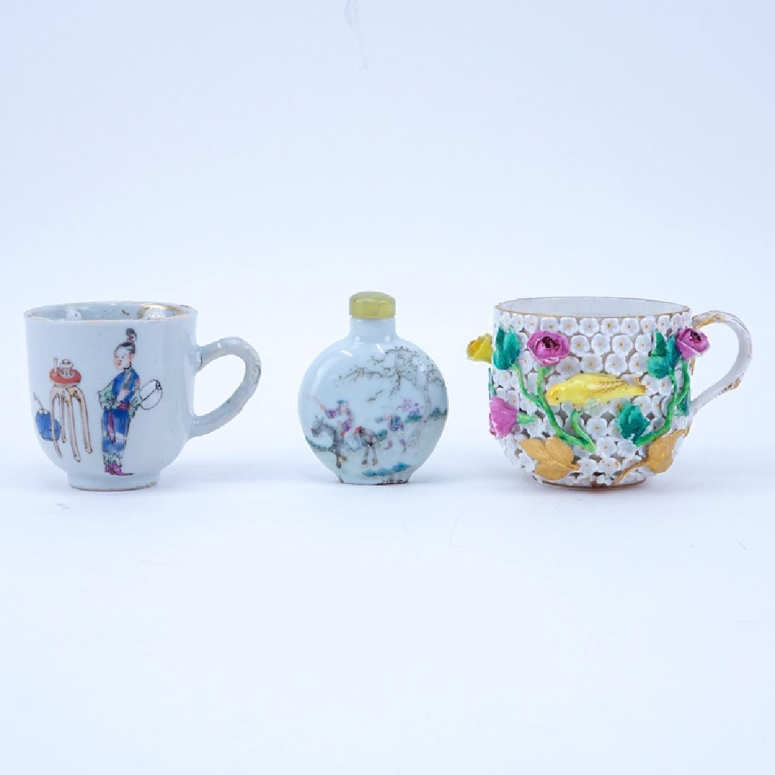 Three Piece Porcelain Lot. Includes: Meissen cup,