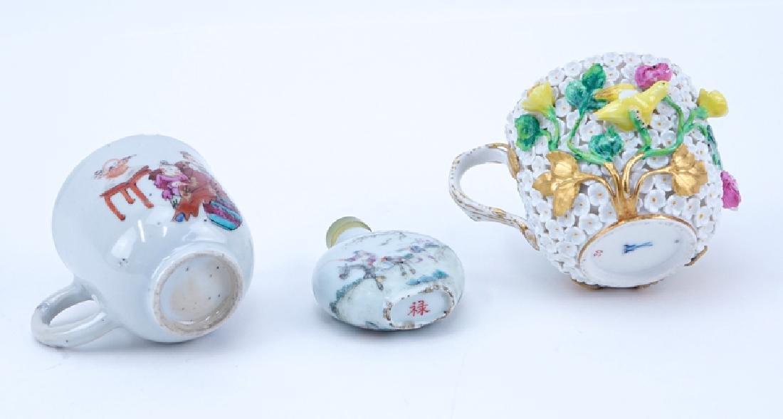 Three Piece Porcelain Lot. Includes: Meissen cup, - 3
