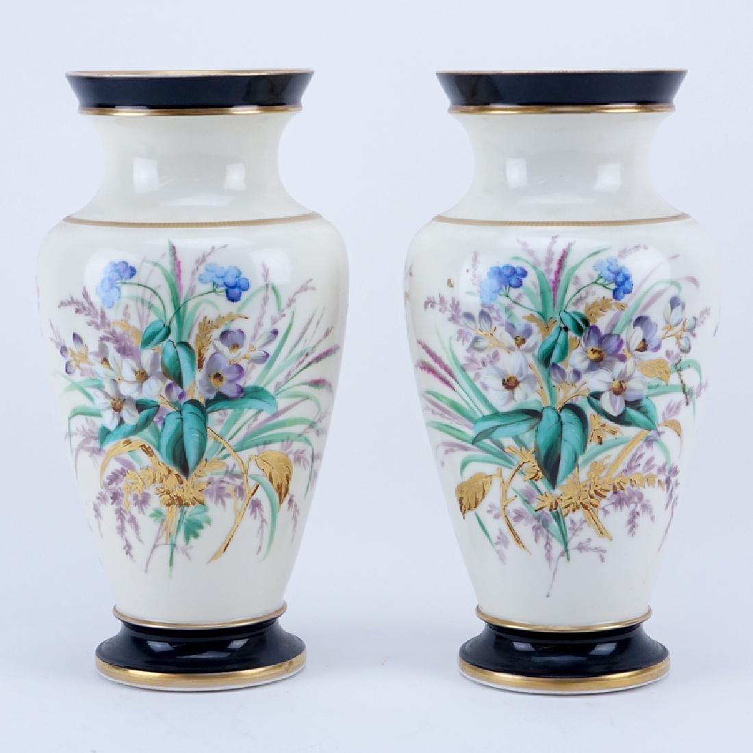 Pair of Vintage Old Paris Handpainted Porcelain Vases.